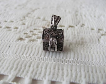 Sterling Pirate Treasure Chest Charm Vintage Pendant