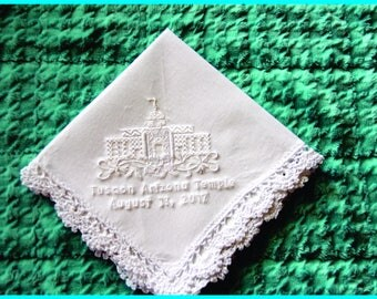 Tucson Arizona Temple Dedication Handkerchief - Lace