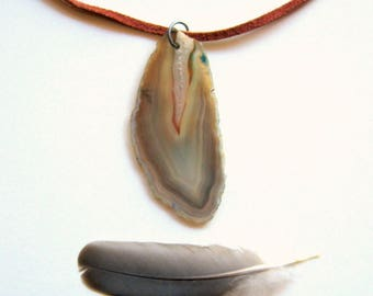 Agate Slice Necklace - quartz, natural, brown, agate necklace, quartz necklace, minimal necklace, deerskin cord, bohemian, modern, ooak