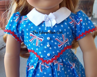 OOAK 1930s, 1940s red, white, blue, pearl, ricrac dress for 18 inch play dolls such as American Girl, Springfield, OG. Made in USA