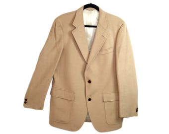 Young Mans Fancy San Francisco 60s Vtg Mens Camel Hair Coat Woven in Scotland / Approx Size 40