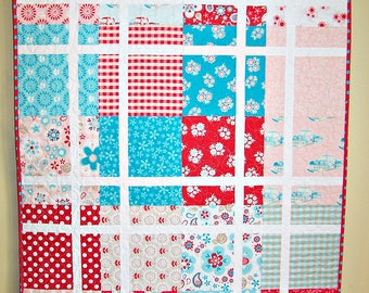 Ready to Ship, Baby Quilt, Patchwork Quilt, Red, Aqua, Pink, Handmade, Girl, Busy Hands Quilts
