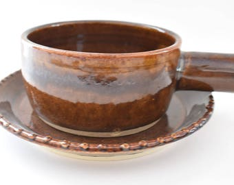 Soup Bowl and Sandwich Plate - Hand-thrown Pottery Matching Bowl and Plate in Brown - Handmade ceramic soup and sandwich set