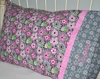 Floral Pillowcase / Embroidered Pillow Case /  Pink and Gray / Standard Twin / Handmade  Cotton Bedding / Toddler Girl Nursery / Teen Girl