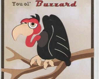 Handmade Happy Birthday Buzzard Card