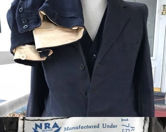 1930s NRA Label Mens Blue 3 pc Suit FDR New Deal Era