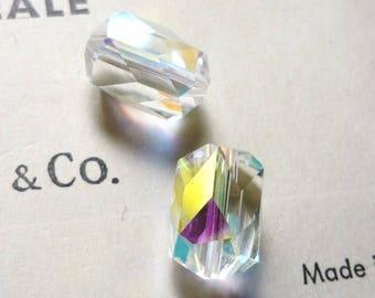 2 vintage swarovski crystal clear AB 70s beads 12x8mm