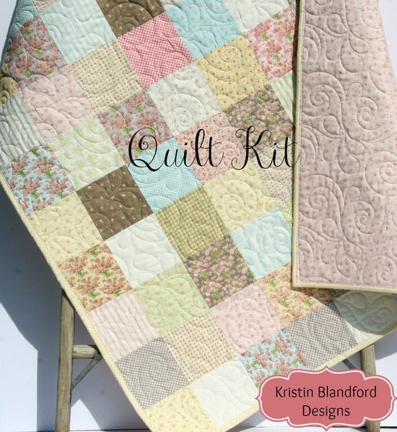 Last ones baby girl quilt kit bespoke blooms for moda fabrics last ones baby girl quilt kit bespoke blooms for moda fabrics pink yellow cottage beginner patchwork diy do it yourself shabby chic from kblandfordfabrics solutioingenieria Images