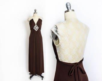 Vintage 1970s Dress - Sheer Illusion Lace Brown Full Length Maxi Dress 70s Roberta - Small