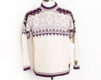 Vintage 1980s Sweater - Dale of NORWAY Olympics Wool Purple Nordic Ski Pullover 80s - Large