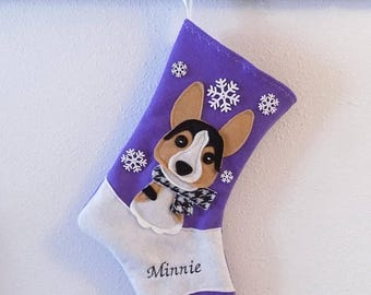 CHRISTMAS IN JULY Tricolor Welsh Corgi Dog Personalized Christmas Stocking by Allenbrite Studio