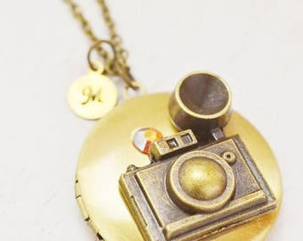 locket necklace, graduation gift, photographer birthday, photo locket, open locket, camera locket, travel gift, personalized locket, friend