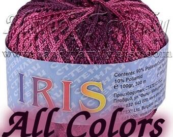 Summer yarn Iris Vegan silk Wedding yarn. Lustrous yarn. Satin yarn Silky yarn. Sheen yarn. Lace Knitting Crochet Yarn Color Choise DSH