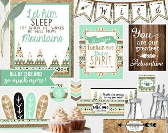 Wild one Tribal Birthday Decorations - Printable - for ANY age - Gold Teal Brown - Wild One Birthday- Instant Download