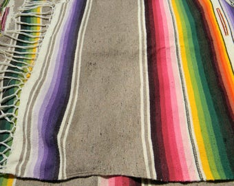 Antique Satillo Serape Blanket Silk and Wool Shawl Rug 1930s