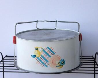 Cake Pie Carrier, Plaid Cake Saver, Metal Cake Safe, Peoria Cover Dome, Vintage Dish Design, Red Plastic Handles