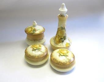 Yellow Rose Porcelain Vanity Set 4 Piece Trinket Powder Jar