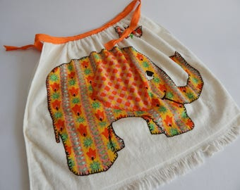 Mod Half Apron Terry Cloth Vintage Elephant Apron 1960s