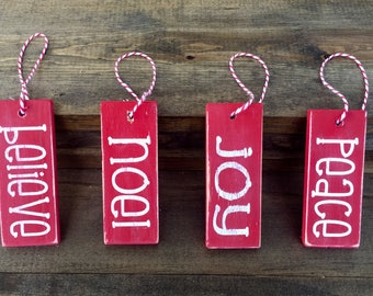 Group of 4 Wood Christmas Ornaments or Gift Tags
