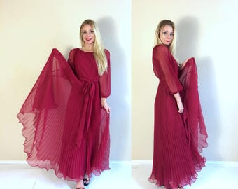 vtg 70s Raspberry Red PLEATED Miss Eliette MAXI DRESS gown xs/Small Grecian Goddess draped cocktail party prom boho burgundy berry