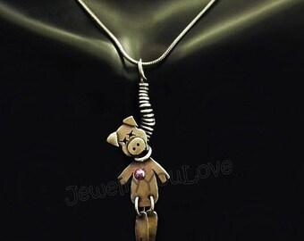 Sterling Silver VooDoo Pig  Necklace - Pink
