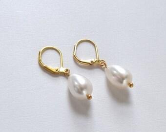 SHIPPING DELAY SALE 10% Genuine Pearl  Earrings, 18th Century Pearls, Teardrop Pearl Earring, Large Pearshaped Pearls, Historical Jewelry, 1