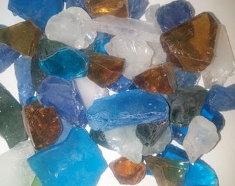 Beach Glass  Sea Glass 1 lb  pound , 16 ounces approx  Blue ,Green ,Clear White, Amber, Aqua blue Tumbled Glass