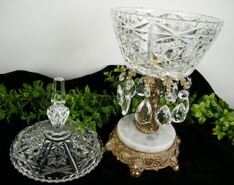 SALE Gorgeous 1970 Glass Chandelier Dish with Lid Cover, Crystal Prisms Centerpiece / Marble Base / Hollywood Regency Vintage Decor