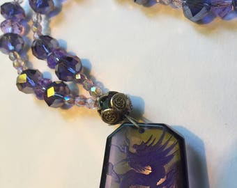Purple crystals with Dragon Pendant