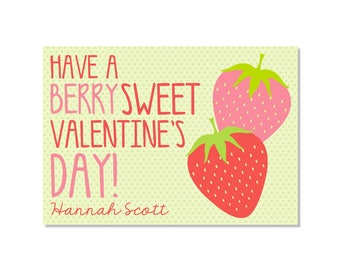 Strawberry Valentine Classroom Card