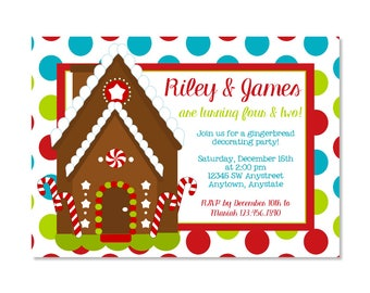 Joint Gingerbread House Birthday Invitation