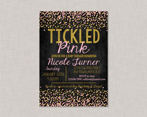 Tickled Pink Baby Shower Invitation Tickled Pink Invite Gold And
