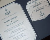 Reserved for Taffy - Nautical Wedding Invitation