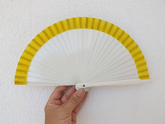 Tiny White and Yellow Hand Fan