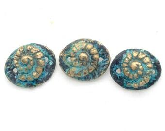 3 Bronze Nautilus  Connectors with Patina