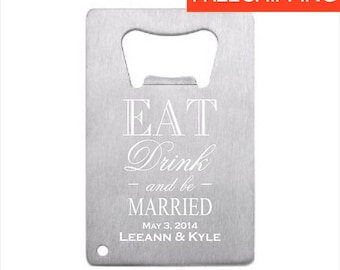 11 of stainless steel credit card bottle opener engraved bottle opener wedding favor - Credit Card Bottle Opener