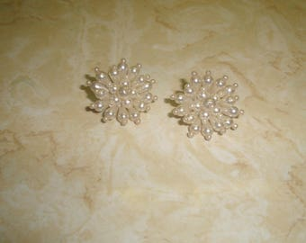 vintage clip on earrings faux pearls bead clusters