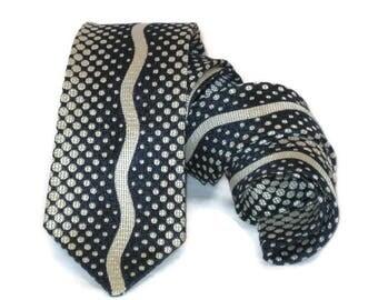 50s Skinny Tie, Narrow Blue Tie, Blue Silver Tie, Blue White Tie, Hipster MOD, 1950s Neckwear, Vintage Necktie