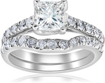 Princess Cut Diamond Engagement Wedding Ring Set 1 1/2ct Enhanced Princess Cut Diamond Engagement Ring Matching Wedding Band Set
