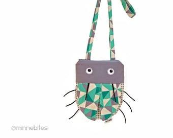 Small Purse - Ladybug Pouch - Gray Cross Body Purse - First Birthday - Little Girls Purse - Ladybug - Green Geometric Bag - Ready to Ship