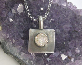 Aurora Borealis Druzy Pendant // Sterling Silver // Hand Crafted // Artisan // Eco Friendly