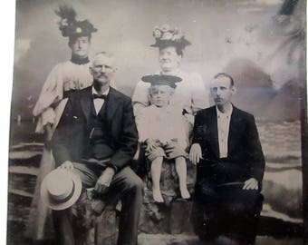 antique tintype - hat loving family, barefoot boy