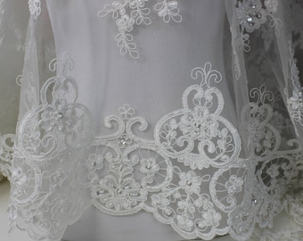 Ivory Lace Tulle Fabric with floral pattern, beads and sequins and scalloped edges,  Dresses, Gowns, Bridal wear, Apparel, Accessories