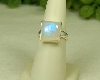 Moonstone Ring, Size 7, Electric Blue Flash, Square Moonstone, Sterling Silver, June Birthstone, Natural Moonstone, Blue Moonstone Ring