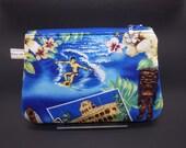 Surf Hawaii Makeup Bag, Tropical Travel Bag, Hibiscus Cosmetics Clutch, Hawaiian Bag, Zip Pouch, Wet Sack, Makeup Pouch, Surfer Gifts