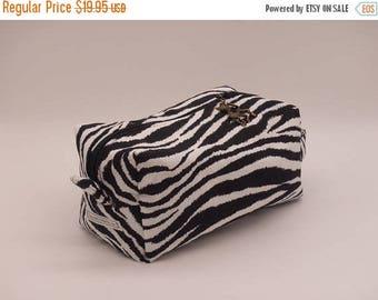Christmasinjuly CIJ Sale Zebra Bag, Zebra Travel Pouch, Black + White Ditty Bag, Toiletry Kit, Cosmetics Case, Toy Bag, Shave Kit, Travel Ca