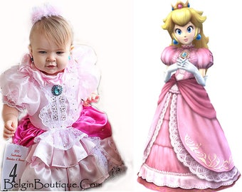 Costume Halloween Princess Peach Mario Brothers baby girl custome 6m up to 12m toddler girl 2T up to 10 yrs