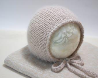Luxury Newborn Baby Bonnet for Baby Boy or Girl in Sand/Tan/Beige Neutral Merino Angora Photo Prop Bonnet with Optional Wrap