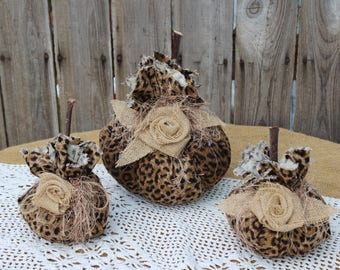 Leopard and Burlap Fabric Pumpkins, Set of 3 fabric pumpkins, leopard pumpkin, fall decor, autumn, Thanksgiving, decor, rustic pumpkin, fall