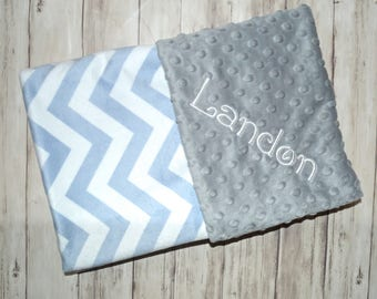 SALE Monogrammed Baby Blanket, Light Blue Chevron Minky with gray, Personalized - Boy Blanket with Name, Zig Zag, Newborn Receiving, Soft